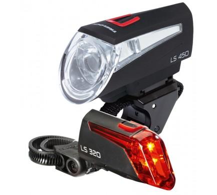 Přední a zadní světlo  Trelock LS450, LS320 černé