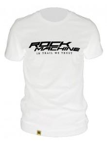 Tričko ROCK MACHINE unisex bílé vel. XL logo IN TRAIL WE TRUST