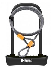 Zámek ONGUARD podkova 115x230x11mm + lanko 1200x10mm, černá, 2klíče, držák