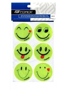 Sada nálepiek reflexných žltých FORCE SMILE, 6 ks