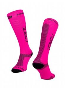 Ponožky FORCE ATHLETIC PRO KOMPRES, ružovo.-čierne S-M