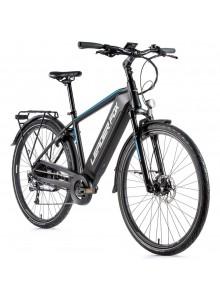 "Trekingový elektrobicykel Leader Fox SANDY pánsky, 2021-1 19"" čierna matná/modrá"