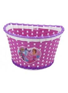 Kôš predný na detský bicykel ružovo/bielo/fialový