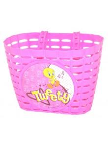 Košík predný na detský bicykel ružový Tweety