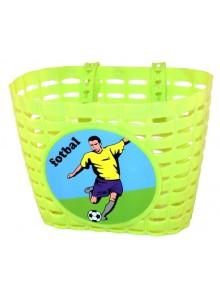 Košík predný na detský bicykel, zelený Futbal